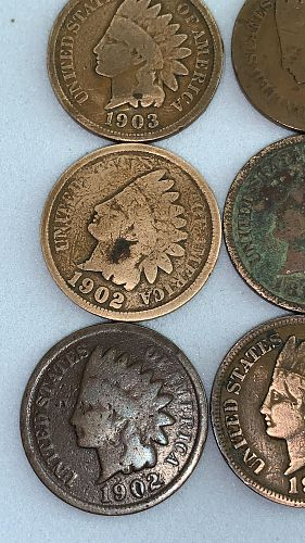 Indian Head Penny Lot 1898 1891 1893 1901 1902/2 1903 1904