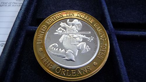 THE ORLEANS, LAS VEGAS, NEVADA. LIMITED EDITION .999 SILVER TEN DOLLAR TOKEN D-1