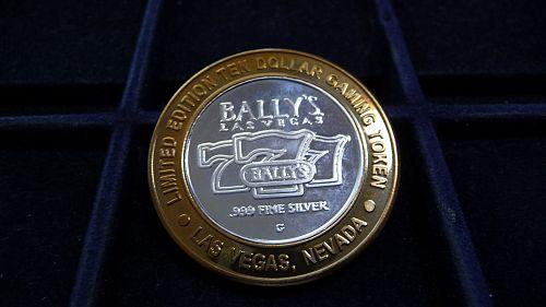 BALLY'S, LAS VEGAS, NEVADA. LIMITED EDITION .999 SILVER TEN DOLLAR TOKEN D-15-21