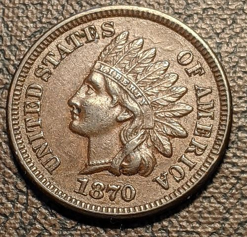1870 XF/AU INDIAN CENT