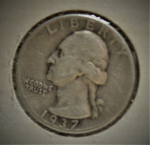 1937 Silver Washington Quarter -  VG