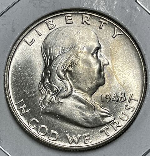 """1948-P """"Key Date"""" Choice BU/MS-FBL (MS63/64+) Franklin US Silver Half Dollar"""