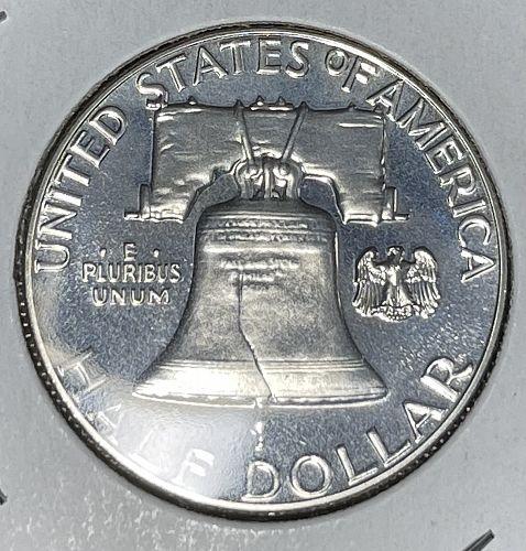 1961-P High Grade PROOF - Black Mirror-Like Fields Franklin US Silver Half Dolla