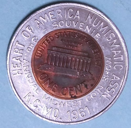 1961-D ANA KANSAS CITY SOUVENIR ENCASED LINCOLN CENT