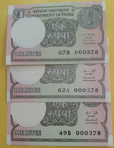 Lower Number..three Uncirculated India notes
