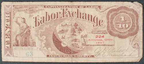1897 Alliance, OH 1/10 The Labor Exchange VG