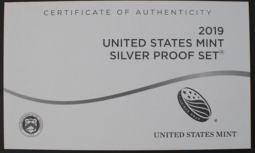 2019 10 Piece Silver Proof Set w/2019-W Reverse Proof Lincoln Cent Included
