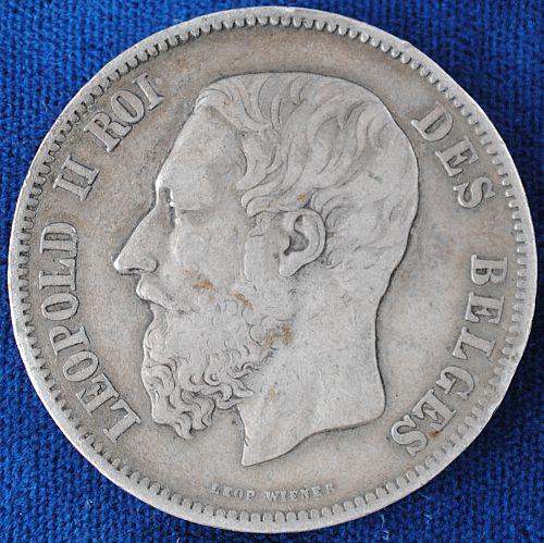 1869 Belgium 5 Francs VF