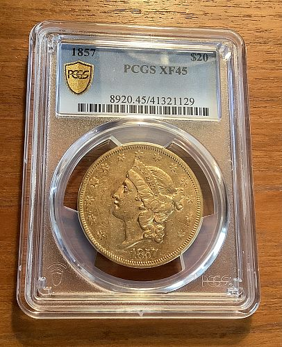 1857 $20 GOLD LIBERTY DOUBLE EAGLE