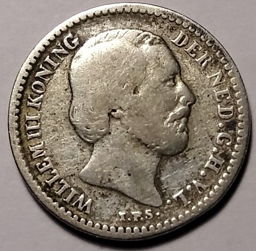 1890 NETHERLANDS SILVER 10 CENTS