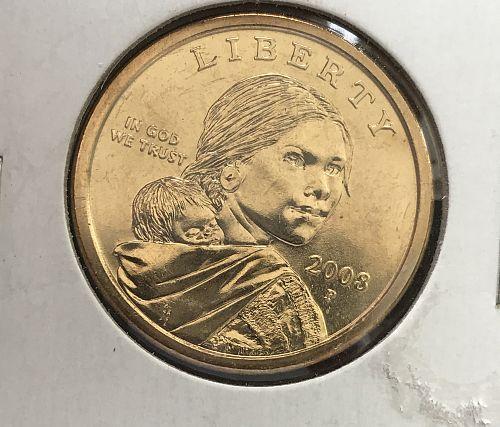2008 P Native American & Sacagawea Dollar--From UNC Roll (0417-2)