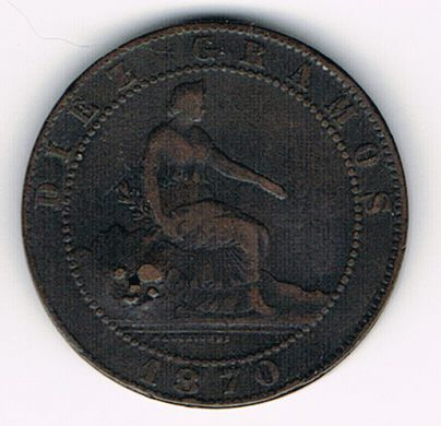 10 Centimos - Provisional Government, Spain, 1870 OM