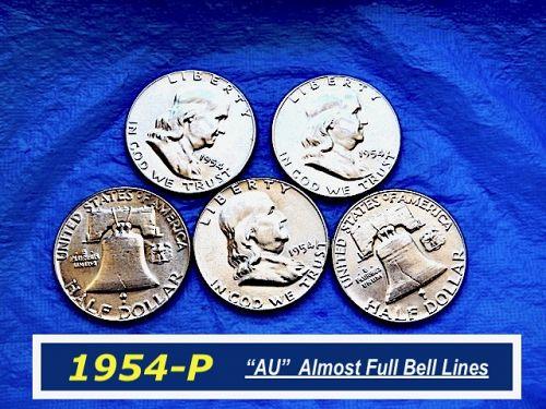 "1954-P Silver Franklin ⭐️ ""AU"" & Partial Bell Lines  ⭐️    (R 1159)"