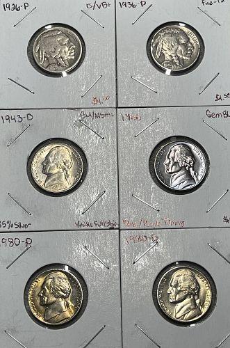 1926-1980 Mixed (6) Coin US Nickel Lot FV$.30