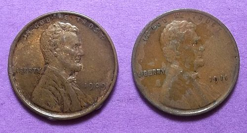 1909 p VDB Lincoln Wheat Penny Lot Pwh5
