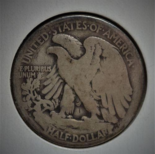 1917 S (Mintmark on Reverse) Walking Liberty Silver Half Dollar - AG/G