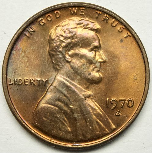 1970 S Lincoln Memorial Cent Large Date#16 Toned Obverse