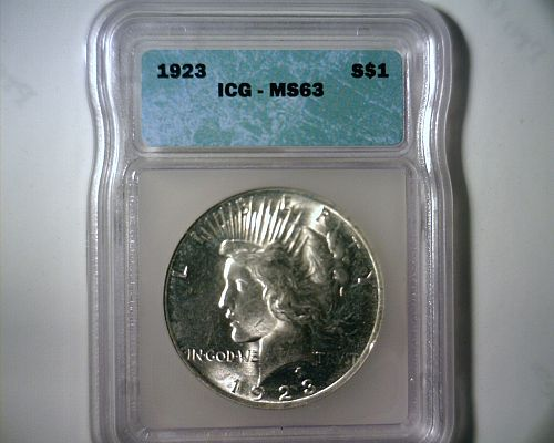 1923 SILVER PEACE DOLLAR  ICG MS-63  NICE LOOKING  COIN!!
