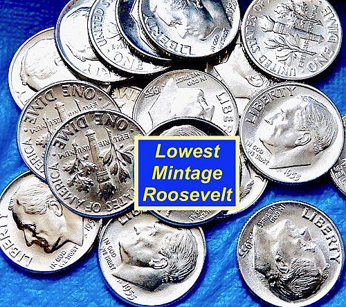 """1955-P Roosevelt Dime   ⭐️  Gem """"BU"""" High Grade   ⭐️   (3750)"""