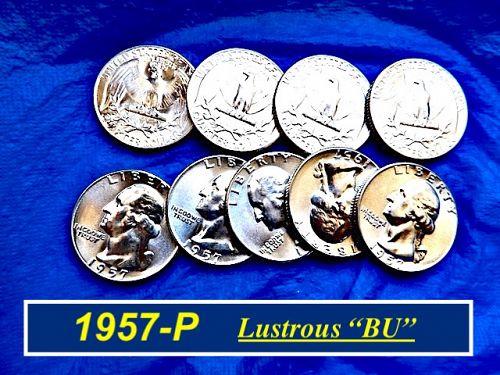 "1957-P  ""BU"" Silver Quarter ⭐️  From an Original Bank Roll ⭐️  (2997a)"