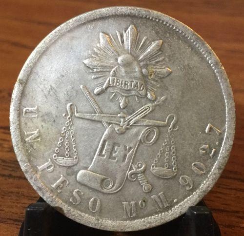 1872 Mo-M Silver Mexican Balance Scale Un Peso Coin