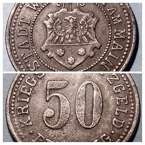 1918 GERMANY - WERTHEIM 50 PFENNIG ZINC NOTGELD