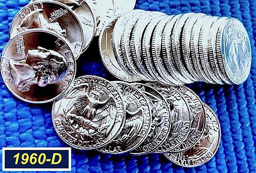 """1960-D  """"BU"""" Silver Quarter ☆ Lustrous Gradeable @ MS64/65 ☆ (2946)"""