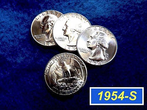 "1954-S  Silver Quarter  ⭐️  Bright Lustrous ""BU"" ⭐️  (2600)"