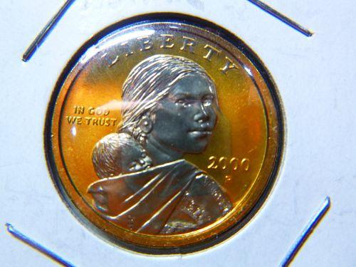 Native American & Sacagawea Dollars 2000 P GOLD PLATED