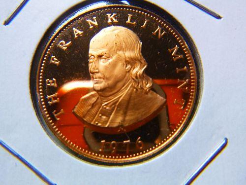 Franklin Mint Collector Relations - Benjamin Franklin - 1976- Eagle Crest PROOF
