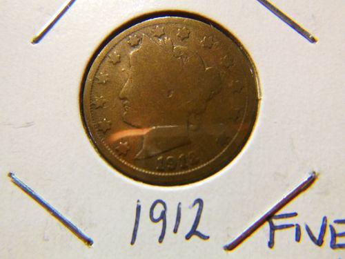 LIBERTY HEAD 1912 5 CENTS