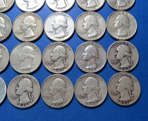 1935 to 1964 WASHINGTON QUARTER ROLL OF 40 US COINS ~ 90% SILVER ~ LOT B452