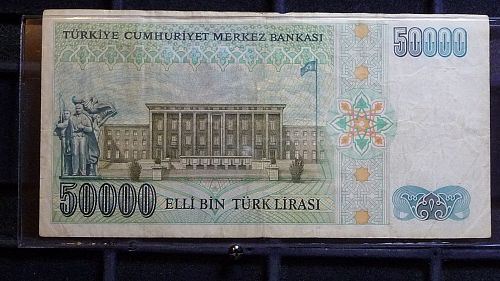1970 TURKEY 50000 LIRA CURRENCY NOTE IN FINE CONDITION D-27-21