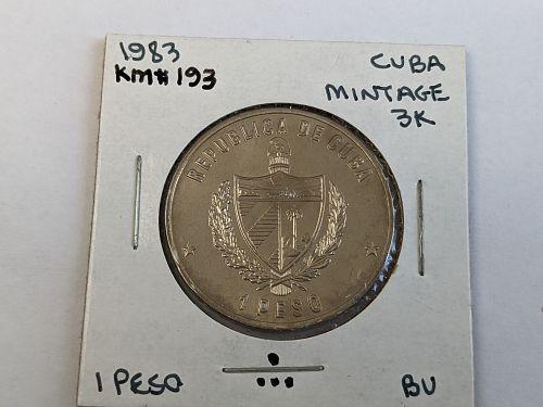 1983 Cuba 1 pesos uncirculated coin, Olympic Runner Los Angeles