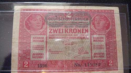 1917 AUSTRIA HABSBURG BANK 2 KORONA NOTE IN G/VG CONDITION  D-2
