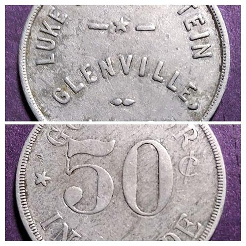 LUKE GOLDENSTEIN GLENVILLE NEBRASKA GOOD FOR 50 CENTS TRADE TOKEN