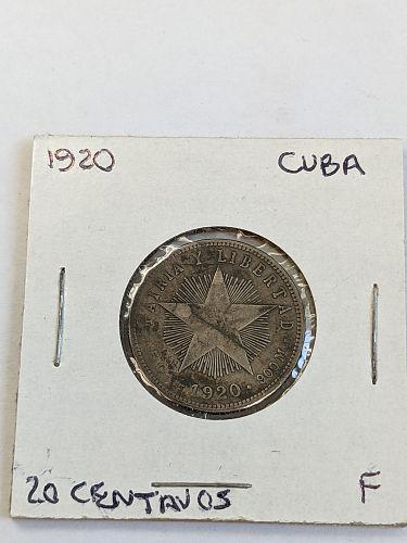 1916 Cuba 20 Centavos silver coin