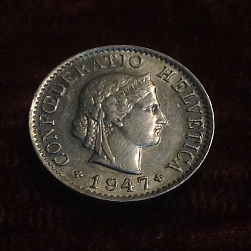 1947 B Swiss 5 Rappen