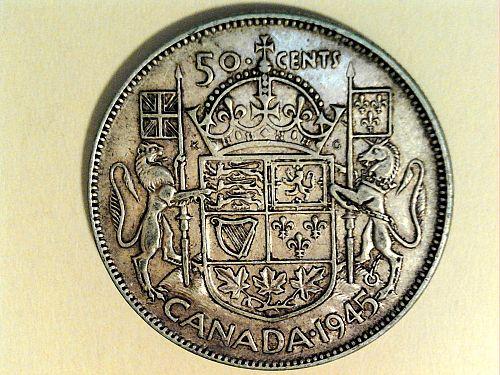 1945 Canada 50 Cents--80% Silver