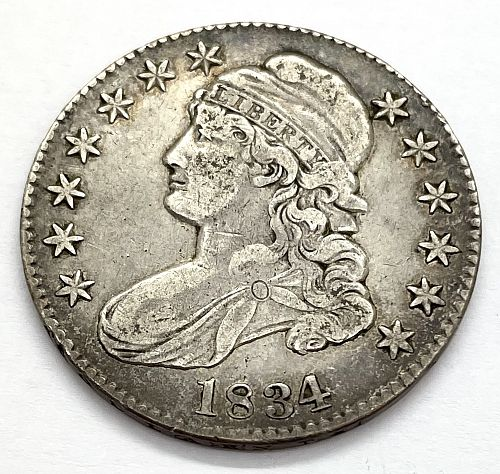 1834 Capped Bust Half Dollar - Large Date - Large Letters - Cleaned