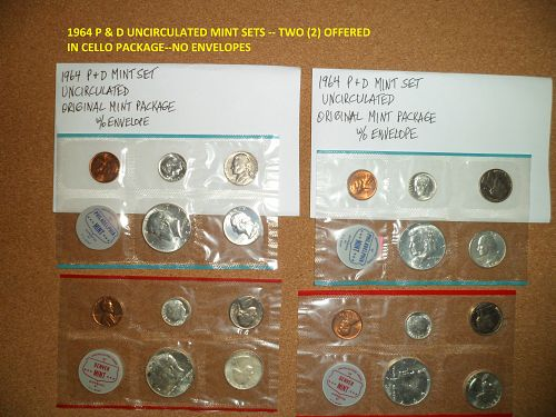 1963 P-D & 1964 P-D UNCIRCULATED MINT SETS -- TWO (2) OF EACH YEAR