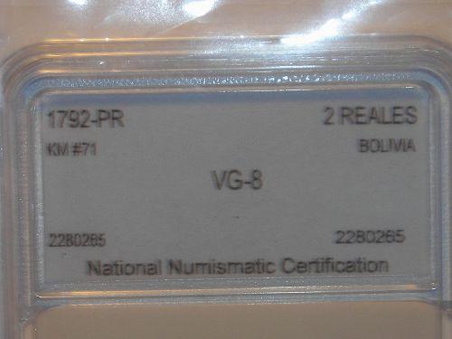 1792-PR 2 Reales Silver Bolivia Mint PTS PR - Scarce Better Date SLABBED