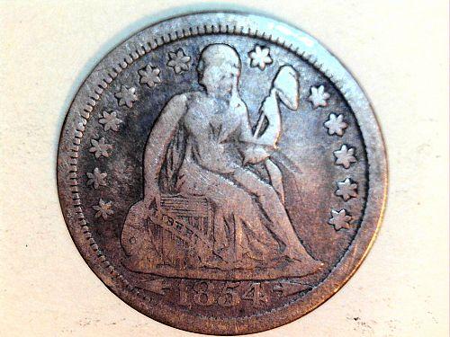 1854 P Seated Liberty Dime