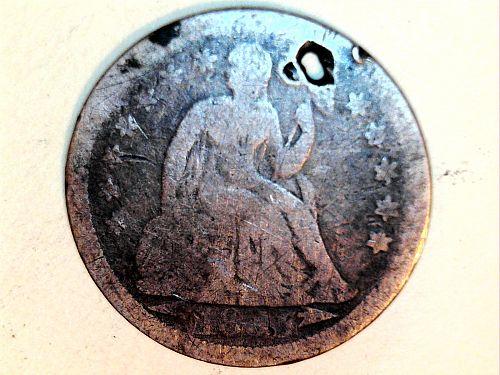 1855 P Seated Liberty Dime--holed