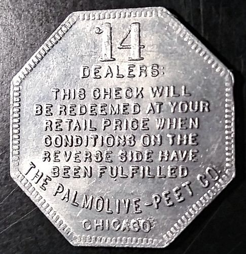 PALMOLIVE PEET - CRYSTAL WHITE LAUNDRY SOAP RETAILERS TOKEN