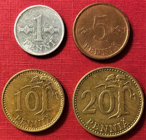 Finland - 1972 - 20, 10, 5 and 1 Pennia