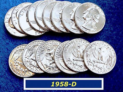 """1958-D  """"BU"""" Silver Quarter ⭐️ Lustrous Gradeable as MS63+ ⭐️ (2312)"""