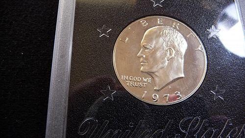 1973-S EISENHOWER SILVER PROOF DOLLAR IN U.S.MINT HOLDER   E-2-21