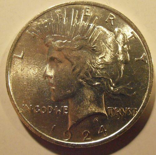 1924 P  BU Silver Peace Dollar, (24PLM1)