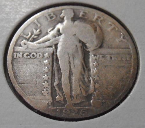 1926 S Silver Standing Liberty Quarter,  (26SAC1)